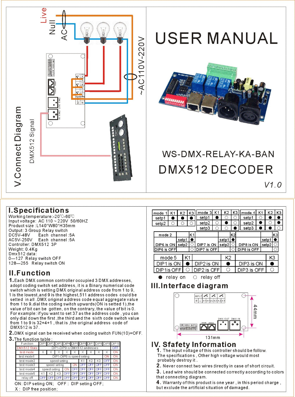 Ac110v 220v 3ch Dmx512 3p Relay Switch Controller Decoder Ws Dmx Dmxprojectscom Lighting Projects Schematic Ka Ban