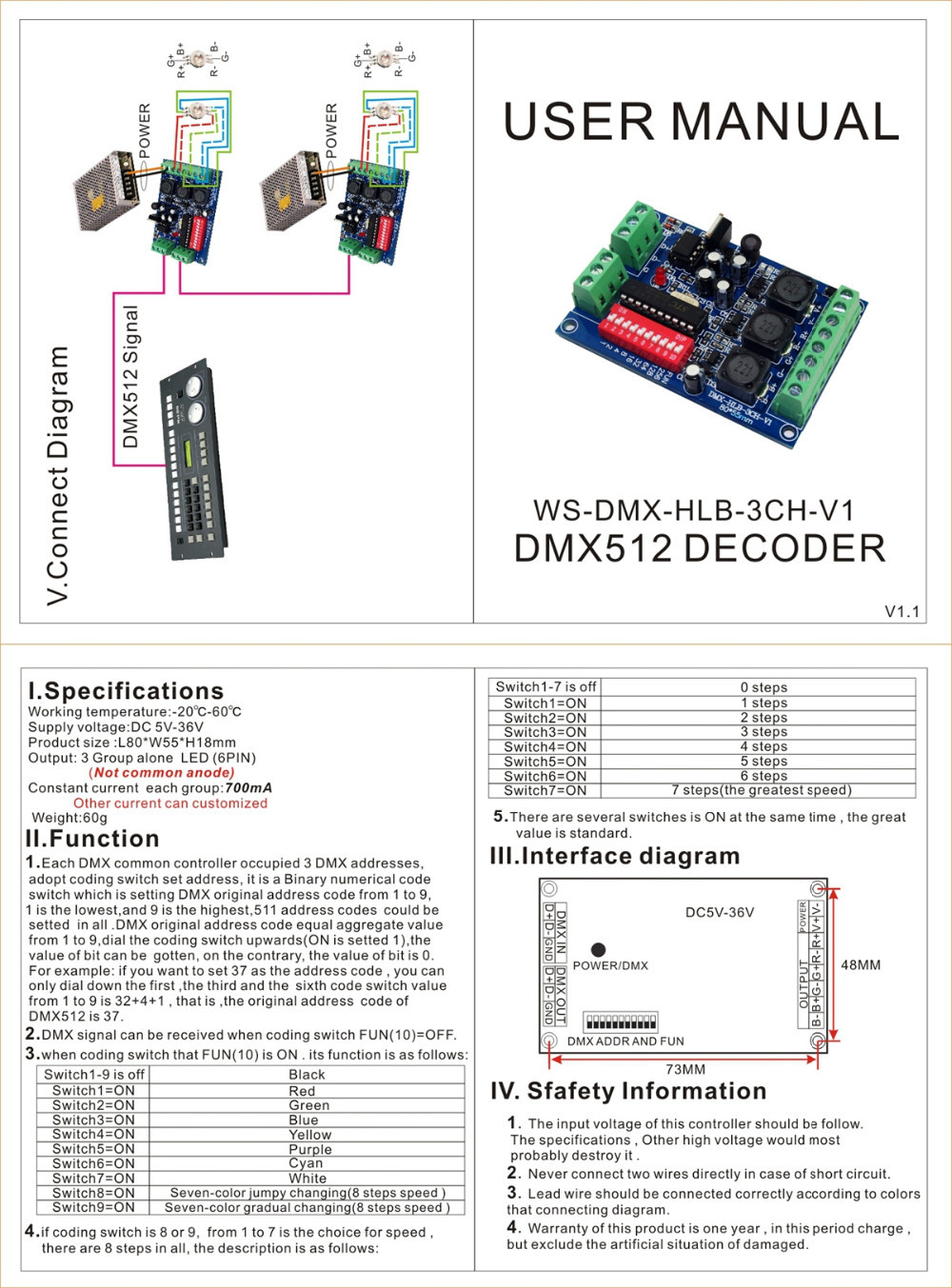 High Power 3ch 700ma Rgb Dmx Controller Drive Dmx512 Decoder Ws Led Wiring Diagram Hlb